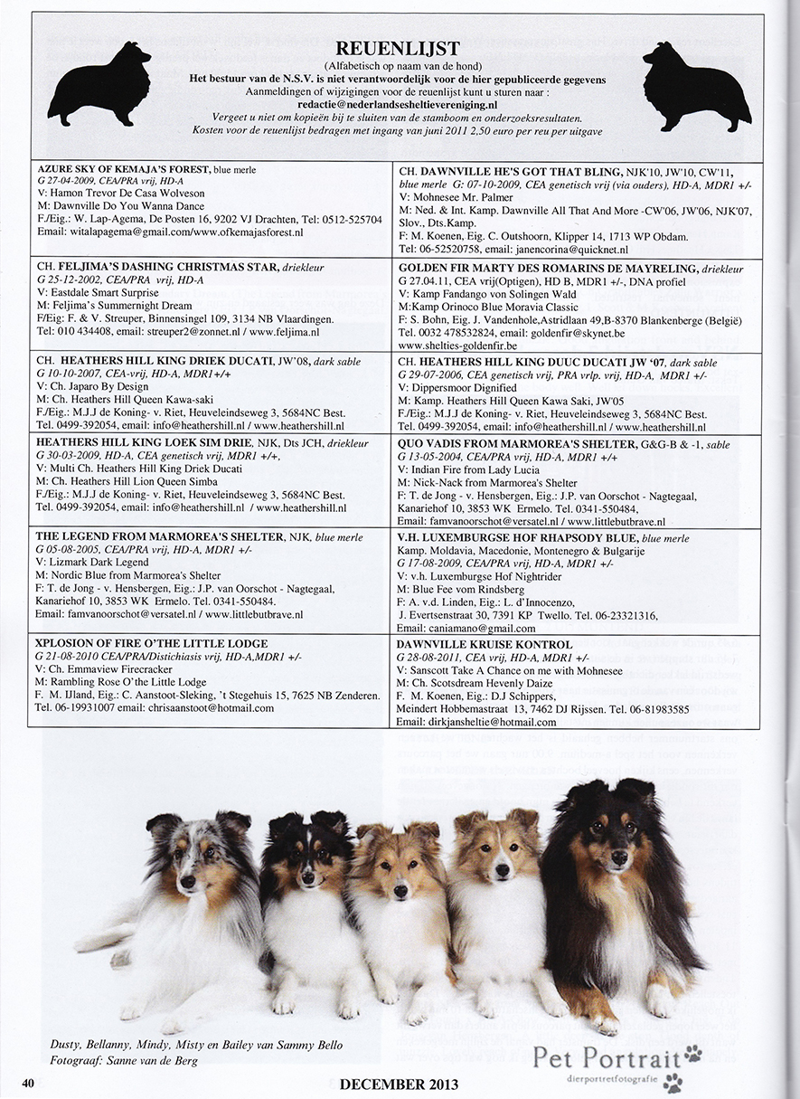 Publicaties - publicatie Sheltie Shelter